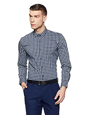 Peter England Men's Checkered Slim Fit Formal Shirt (PSF318001971_Darkbluewithwhite_40)
