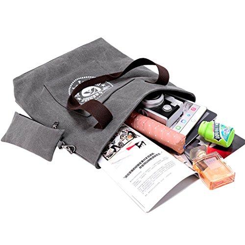 Super moderno, borsa a spalla Borsa di tela retro borsa a tracolla grande borsetta Square top Handble bag, donna, Brown Grey