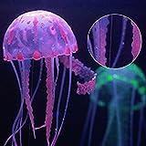 Imitation incroyable d'une méduse flottante Effet incandescent sous éclairage actinique Se déplace en suivant le courant de l'eau S'attache à l'aide d'une ficelle mince et invisible et d'une ventouse Inoffensif pour les autres poissons