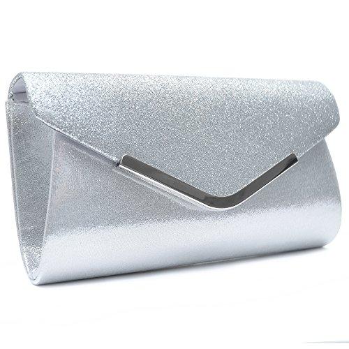 Vain Secrets Damen Handtasche Umhänge Tasche Clutch Abendtaschen in vielen Farben (21 cm Lang - 12 cm Hoch - 5 cm Breit, Silber)