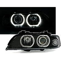 Faros delanteros Angel Eyes Set, Negro, con LED anillos de luz