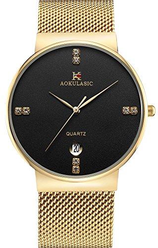 AOKULASIC Fashion Date Analog Quartz Waterproof Wrist Watch with Slim Stainless Steel Mesh Band (Gold & Black)