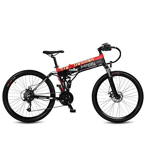 """ZHENGBU 26""""Plegable Ebike, Bicicleta de montaña de 27 velocidades, 240W 48V 10Ah, Marco y llanta de aleación de Aluminio, suspensión Total (Rojo, 10Ah)"""
