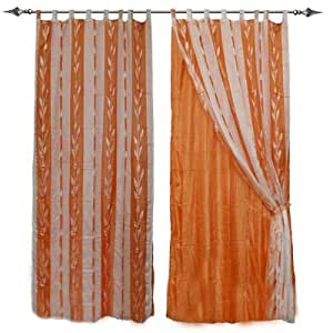Coppia tende doppio velo arancio 140x290 casa for Tende amazon