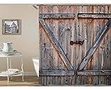 Bishilin Bad Vorhang für Badezimmer Holztür Anti Schimmel Duschvorhang Waschbar Polyester-Stoff 150x180