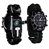 6 in 1 Survival Bracelet Watch - Multifunctional Emergency Survival Watch with Paracord Whistle Fire Starter Compass and Thermometer Gear