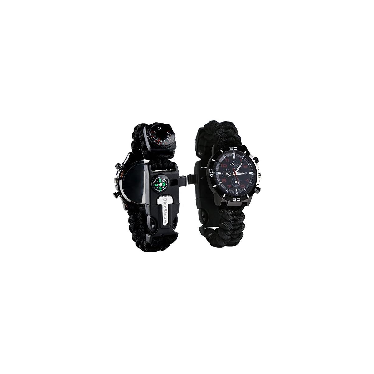 51ywvzZD00L. SS1200  - Reloj de supervivencia de pulsera 6en 1, multifuncional, impermeable, con cuerda de paracaídas, silbato, pedernal, rasqueta, brújula y termómetro
