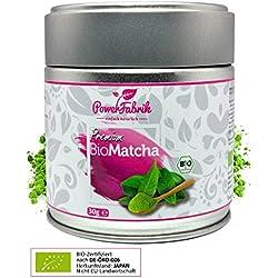 BIO Matcha Tee Pulver | 30g *SOMMERAKTION* | Original Grüntee aus JAPAN - zertifiziert in Deutschland | PREMIUM Qualität aus kontrolliertem BIO Anbau | GRATIS REZEPTBUCH zum Trinken, Kochen, Backen | Shakes - Smoothies - Matcha Latte | Aroma Metalldose | Macha | PowerFabrik
