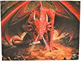 Dragons Lair - A Gothic Red Dragon on His Hoard of Golden Treasure - Fantastic Design by Artist Anne Stokes - Canvas Picture on Frame Wall Plaque / Wall Art