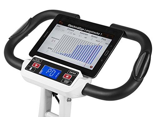 SportPlus Ergo X-Bike mit App-Steuerung, 24 motorgesteuerte Widerstandstufen, inkl. Bluetooth Brustgurt (nur für kurze Zeit!), TÜV/GS, klappbar, int. Tablethalterung, Benutzergewicht bis 100 kg - 3