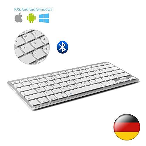 Boriyuan Ultra dünn Bluetooth 3.0 Wireless Tastatur (Qwertz) Kabellose Deutsche Keyboard, Kompatibel mit allen iOS, Android, Mac, und Windows Geräten - (Weiß ) (Laptop-power-taste)
