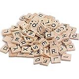 Nighteyes66 100Pcs Wooden Alphabet Scrabble Tiles Letters Numbers Children's Educational Toy