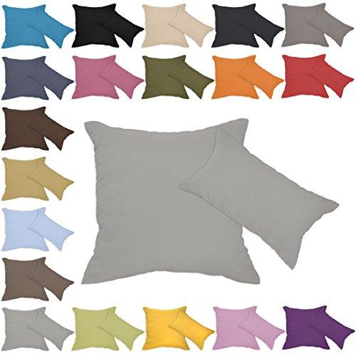 Qool24 Leinen-Optik Kissenbezug mit Reißverschluss Kissenhülle Kissenbezüge 23 Farben und 19 Größen Grau 60x60 cm