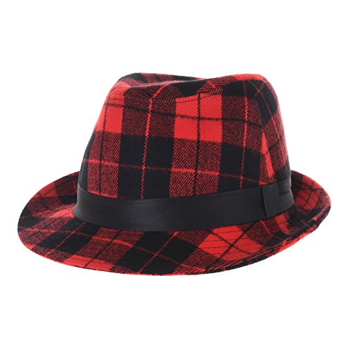 WITHMOONS Fedora Hut Bogarthut Mafiahut Wool Fedora Hat Glen Tartan Plaid Check Pttern DW6488 (Red) (Fedora Plaid Herren)