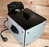 Fritteuse mit GLASSEITEN Home Electric FRG8002W Friteuse 2,6 Liter 2000 Watt