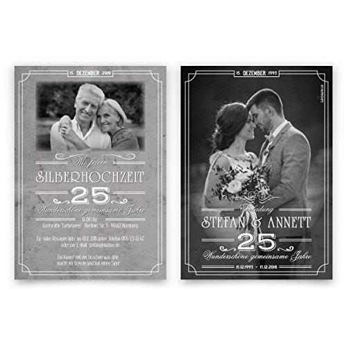 20 x Hochzeitseinladungen Silberhochzeit silberne Hochzeit Einladung - 25 wundervolle Jahre