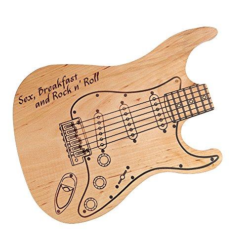 Tagliere in legno con incisione - chitarra elettrica - sex, breakfast and rock 'n' roll - legno di ontano - idea regalo di nozze per gli sposi - regalo per amanti del rock - regalo di san valentino