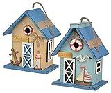 Jardinion Vogelhaus Deko, Holz Nisthaus, Ostsee Design Blau Beige Haus Figur Garten