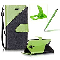 For Huawei Mate 9 Strap Leather Case,Herzzer Stylish Stitching Color Book Style PU Leather Wallet with Hand Wrist Credit Card Slot Folio Flip Magnetic Stand Case with Soft TPU Inner Full Body Protective Folder Case Cover Skin for Huawei Mate 9 + 1 x Free