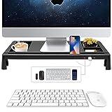 Monitor Display Riser Stand - PC Laptop Computer Bildschirm Riser - Desk Storage Organizer für Zuhause oder Büro - Büro Schreibtisch Laptop Handy TV Drucker Desktop Container mit 3 USB Ports (schwarz)