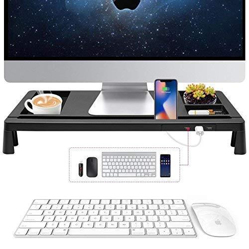 Monitorständer Monitor Ständer Schwarz mit USB Für Schreibtisch - Bildschirm Riser Für Monitore Computer PC Laptop TV - Schreibtisch Speicherorganisator Für Zuhause oder Büro - Monitor Desktop Mit Computer