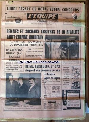 EQUIPE (L') [No 7044] du 07/12/1968 - RENNES ET SOCHAUX ARBITRES DE LA RIVALITE SAINT-ETIENNE - BORDEAUX - LES AMERICAINS MENENT FACE AUX FRANCAIS - CHUTE DE GRANDS EN CHAMPIONNAT DE RUGBY - GYM / CHAMPIONNATS DE FRANCE A TROYES / GUIFFROY - LETOURNEUR - ATHLETISME - CROSS-COUNTRY - BOXE - TENNIS - BASKET par Collectif