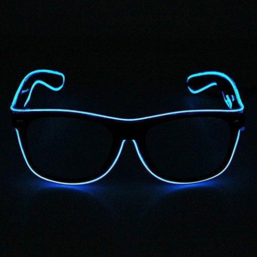 LED Leuchten Brillen,Evary EL Leuchtbrille Party Club LED Cool Brille Leuchten Augenmaske Geschenk Licht Glasses + Stimme Controller, für Weihnachten Tanzen Party Nacht Pub Bar Klub Rave Verrückt Raves,Nacht Bar, Blau