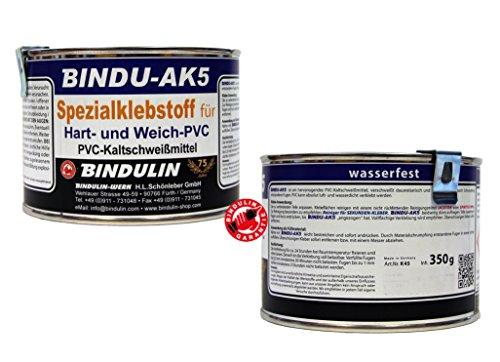 350 mL Bindu-AK5 PVC-Kleber - Spezial PCV Kleber - Klebstoff für Hart PVC & Weich-PVC für eine verschweißte Verbindung - klebt PVC mit Leder Stoff Hol Kunststoff, Dachrinnen PVC-Platten moderne PVC-Planen Teichfolie Pool Vinyl (Sockelleisten Leder)