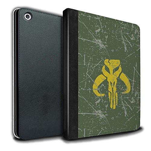 Stuff4® PU-Leder Hülle/Case/Brieftasche für Apple iPad 9.7 (2017) Tablet/Kopfgeldjäger Inspiriert Muster/Galaktisches Symbol Kunst Kollektion (Star Wars Tablet Case)