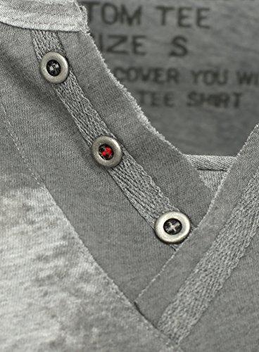 Key Largo Herren T-Shirt HONOR mit Nieten und Vintage Print Medaille Abzeichen Army Stars Sterne Knopfleiste Grau