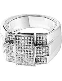 F/VS 1.00 Carat Round Diamond Designer Ring for Men's Crafted in 18k White Gold