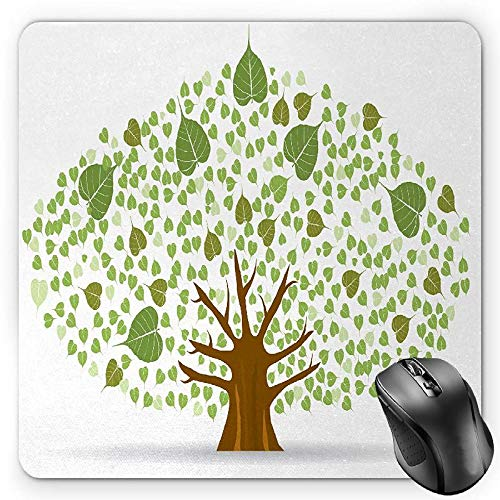 BGLKCS Tree Mauspads Mouse Pad, Sacred Fig Bodhi Tree Illustration Full of Leaves Spiritual Enlightenment, Standard Size Rectangle Non-Slip Rubber Mousepad, Green Brown and White -