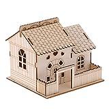 MagiDeal Kreative Hölzerne Villa Spardose Sparbüchse Sparschwein mit schönem Licht - 15 x 14 x 13 cm - D