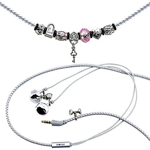URIZONS In Ear Kopfhörer, In-Ohr Kopfhörer mit Mikrofon und Fernbedienung Pandora Perlen Wearable Wistband Halskette (Lock Silver)