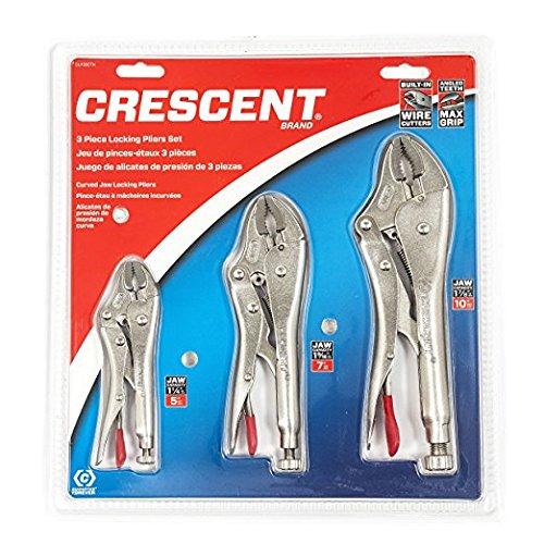 Crescent CLP3SETN 3-Teilige Gripzangen Set, 125mm/175mm/250mm Gripzange mit Gebogene Backen und Drahtschneider