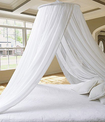 Canopy Top (Pure White Extra Thick Elegant Round Top Bed Canopy (Mosquito Net) - Holiday Resort Style by Leisure Bargains)
