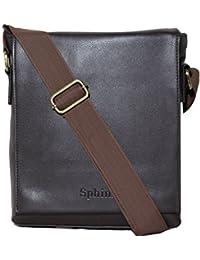 SPHINX Artificial Leather Long flap Cross-body Regular Sling Bag for men/boys - Dark Brown (L x B x H: 25 x 22 x 7 cm)