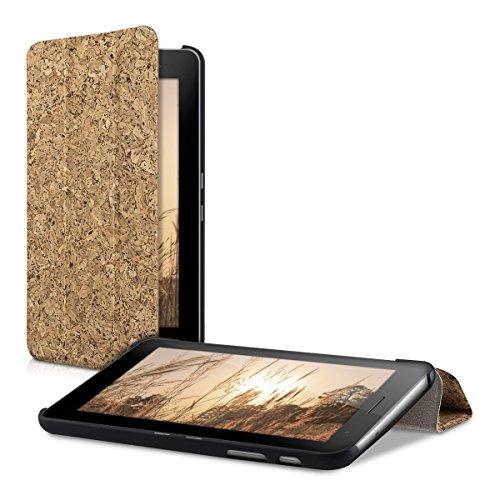 kwmobile Smart cover de corcho para Huawei MediaPad T1 7.0 / Honor Play Tablet T1 en marrón claro con soporte