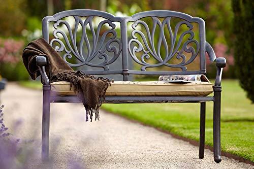 HARTMAN Amalfi 2-Sitzer Bank, bronze, Parkbank aus Alu-Guss, inkl. Wendekissen, Gartenbank, Alu-Bank, Sitzbank aus Aluminium