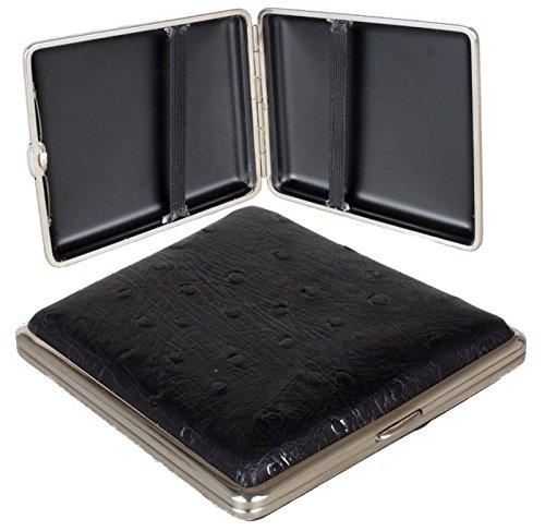 Zigarettenetui - Zigarilloetui Straußenleder schwarz 90mm inkl. Lifestyle-Ambiente Tastingbogen (Straußenleder Schwarz,)
