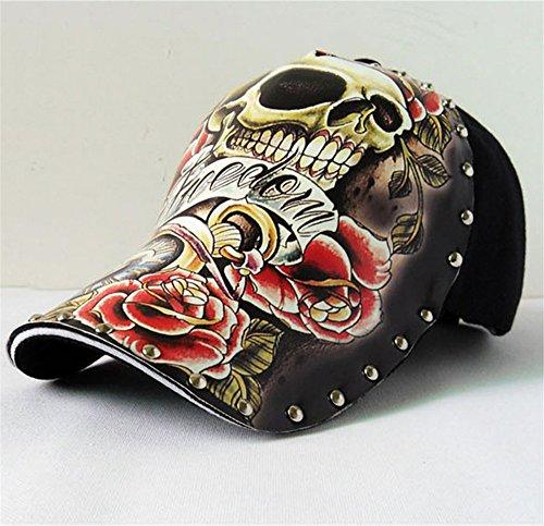 Imagen de hombres chicos modernos pintado remache cráneo vistoso  de beisbol  hip hop sombrero visera alternativa
