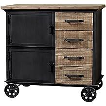 Bahut Enfilade cómoda con ruedas madera hierro industrial campaña 90cm