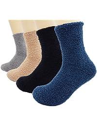 Bienvenu Mens Soft Warm Fuzzy Socks Solid Color 4 Pair Sock Pack