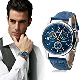 LHWY Luxury Fashion Faux Leather Mens Blue Ray Glass Quartz Analog Watches (blue, A)
