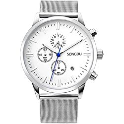 SONGDU Unisex Silver Chronograph Watch Big Face Stopwatch with Date Calendar and Milanese Mesh Strap