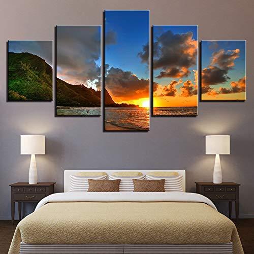 Mddrr Leinwand Hd Drucke Gemälde Wandkunst Rahmen Poster 5 Stücke Sonnenuntergang Sea Mountains Seascape Bilder Wohnkultur Für Wohnzimmer Wohnzimmer Dekoration