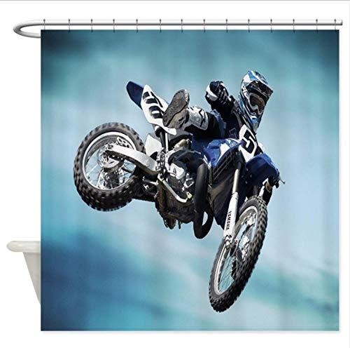 HANYULIAN Duschvorhang Dirt Bike Jump - Dekorativer Stoff Duschvorhang 3D Effekt Umweltfreundliches Badezimmer Antibakterielles Hauptdekorationbadezimmer