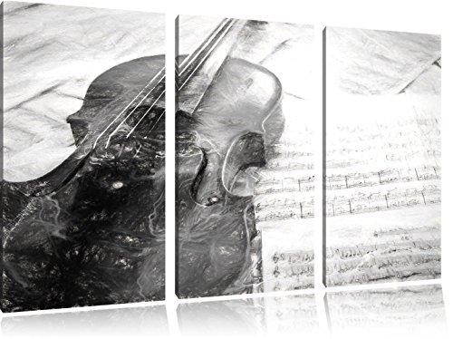Geige-mit-Notenblttern-Kohle-Effekt-3-Teiler-Leinwandbild-120x80-Bild-auf-Leinwand-XXL-riesige-Bilder-fertig-gerahmt-mit-Keilrahmen-Kunstdruck-auf-Wandbild-mit-Rahmen-gnstiger-als-Gemlde-oder-lbild-ke