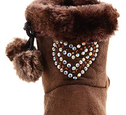 fourever Funky Unisex Baby 's Strass Fashion Pom Winter Stiefel braun