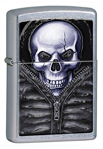 Feuerzeug Zippo Skull in Bag Mod.16F009, winddicht Akku Zippo, Feuerzeug Benzin Zippo Akku mit sicheren Anzündung mit Feuerstein, Zippo (Zippo Made In Usa Feuerzeug)